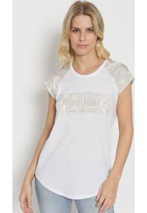 """Camiseta Com Bordado """"Triton®"""" - Branca & Bege - Tritriton"""