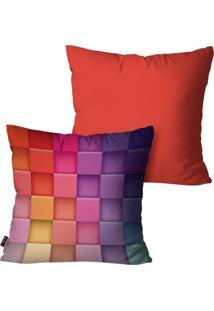 Kit Com 2 Capas Para Almofadas Pump Up Decorativas Vermelha Colors 3D 45X45Cm