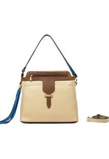 Bolsa De Couro Recuo Fashion Bag Marfim/Camurça Marrom