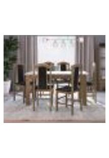Conjunto De Mesa Com 6 Cadeiras Ameixa Negra E Preto Lilies Móveis