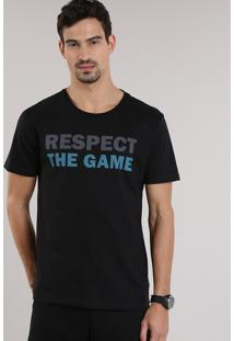 "Camiseta Ace ""Respect The Game"" Preta"