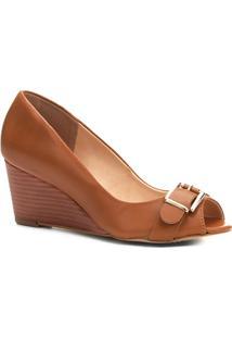 Peep Toe Couro Shoestock Anabela Fivela - Feminino-Caramelo