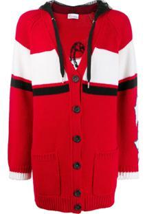 Red Valentino Cardigan Red(V) De Tricô Com Slogan - Vermelho