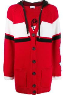 Red Valentino Red(V) Slogan Knitted Cardigan - Vermelho