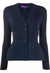 Ralph Lauren Collection Cardigan De Cashmere Gola V - Azul