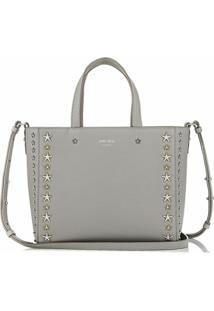 Jimmy Choo Pegasi Star-Embellished Textured-Leather Tote - Prateado