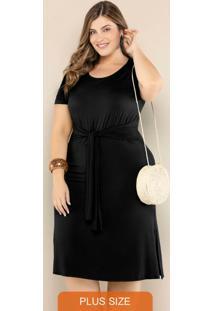 Vestido Plus Size Com Amarração Preto