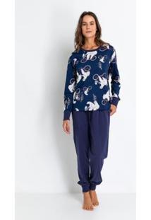 Pijama Longo De Meia Malha De Algodão Acuo Feminino - Feminino-Azul