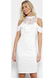 Vestido Lily Fashion Tubinho Open Shoulder Renda - Feminino-Branco
