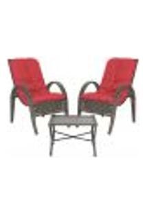 Jogo Cadeiras 2Un E Mesa P/ Jardim Edicula Varanda Descanso Trama Napoli Plus Pedra Ferro A16