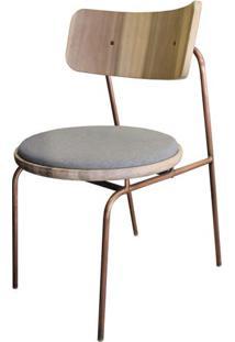 Cadeira Lux Em Madeira De Sol Assento Linho Cinza Base Metalica Cor Cobre - 50448 Sun House