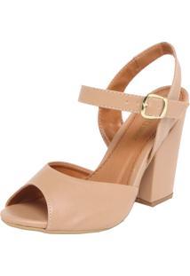 Sandália Dafiti Shoes Salto Grosso Nude