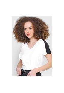 Blusa Cativa Color Block Branca/Preta