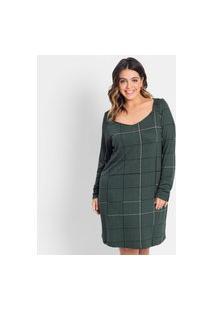Vestido Plus Size Quadriculado Rovitex Plus Verde