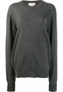 Alexander Mcqueen Suéter Com Logo E Caveira - Cinza