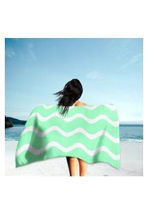 Toalha De Praia / Banho Ondulações Verde Único