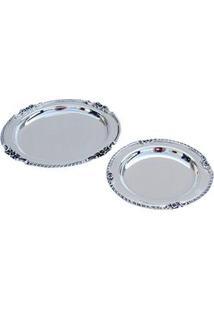 Bandeja Redonda Decorativa Btc Aparador Em Alumínio Com 2 Peças - Prata
