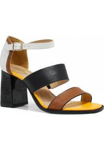Sandália Zariff Shoes Salto Couro - Feminino-Marrom+Preto