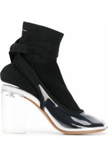 Mm6 Maison Margiela Ankle Boot Com Acabamento Contrastante - Branco