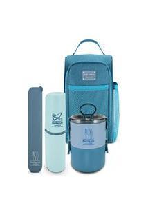 Conjunto Bolsa Termica Com Marmita E Porta Talher E Escova Jacki Design Azul