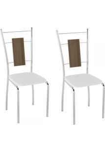 Cadeiras Kit 2 Cadeiras Pc19 Vinil Branco/Cromado - Pozza