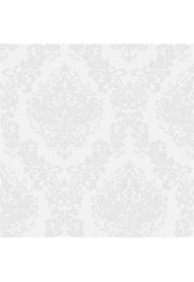 Papel De Parede Estilo Tradicional Arabesco Branco E Cinza 0.53X10M