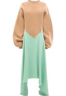 Jw Anderson Vestido Com Blusa De Tricô E Saia Longa Assimétrica - Verde
