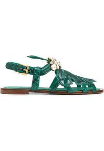 Dolce & Gabbana Sandália Com Detalhe De Aplicação - Verde