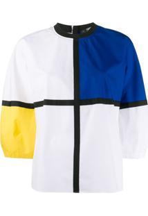 Karl Lagerfeld Blusa Color Block Com Acabamento Engomado - Branco