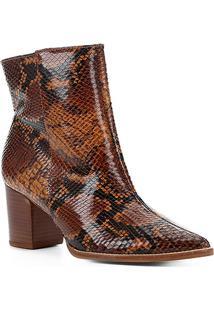 Bota Cano Curto Shoestock Salto Bloco Snake Feminina - Feminino-Caramelo