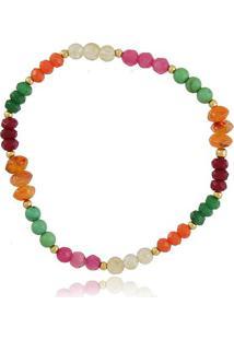 Pulseira Com Bolinhas De Cristal E Pedras Rainbow