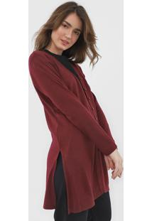 Cardigan Facinelli By Mooncity Tricot Fendas Vinho
