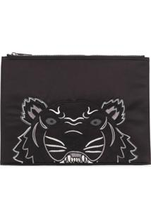 Kenzo Clutch Bordada 'Tiger' - Preto