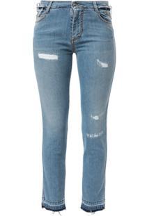 Ermanno Scervino Calça Jeans Skinny Cintura Baixa Com Efeito Destroyed - Azul