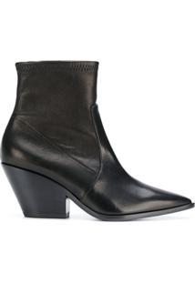 Casadei Ankle Boot 'Texan' De Couro - Preto