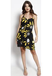 2eb99aba4 R$ 130,99. Privalia Vestido Com Babado- Preto & Amarelo- Zincomorena Rosa