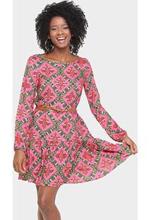 Vestido Malwee Com Cinto - Feminino-Rosa+Verde f606b774932db