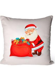 Capa De Almofada Decorativa Papai Noel Com Presentes Off White - Off-White - Dafiti