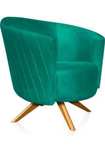 Poltrona Decorativa Angel Gomada Suede Verde Tiffany Com Base Giratória Madeira D'Rossi Verde