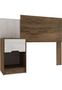 Cabeceira Solteiro Com Mesa De Cabeceira – Rodial - Cacau / Blanc Textura