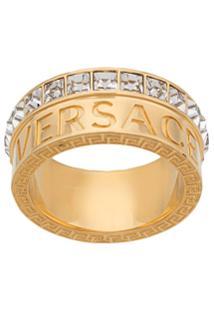Versace Anel Com Cristais - Dourado