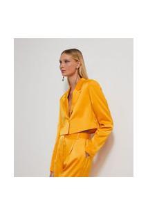 Blazer Cropped Em Cetim Com Botão Forrado | Just Be | Amarelo | P