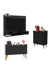 Kit Painel Para Tv Dubai - Preto / Aparador Buffet Retrô 4 Portas Dallas - Preto / Aparador Buffet Retrô 2 Portas Barthô - Preto