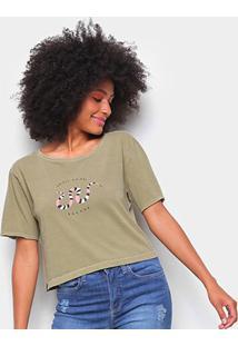 Camiseta Cantão Babylook Cropped Cobra Feminina - Feminino-Verde Escuro
