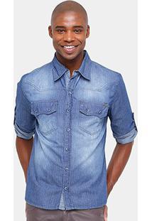 Camisa Jeans Zune Indigo Stone Listras Masculina - Masculino