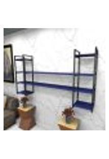 Estante Estilo Industrial Sala Aço Cor Preto 180X30X98Cm (C)X(L)X(A) Cor Mdf Azul Modelo Ind49Azsl