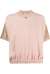 Moncler Blusa De Moletom Mangas Curtas - Rosa