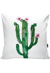 Capa De Almofada Cactus- Branca & Verde- 42X42Cmstm Home