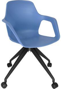 Cadeira De Cozinha Giratória Beau Com Braço Azul E Preta