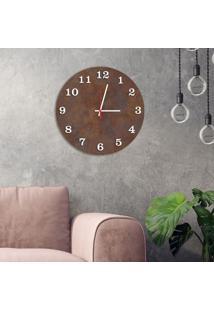 Relógio De Parede Decorativo Premium Corten Com Números Em Relevo Branco Médio